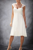 Summer Short Cap Sleeves Chiffon Informal Beach Tea Length bridal gown 2018 robe de soiree vestido de noiva bridesmaid dresses