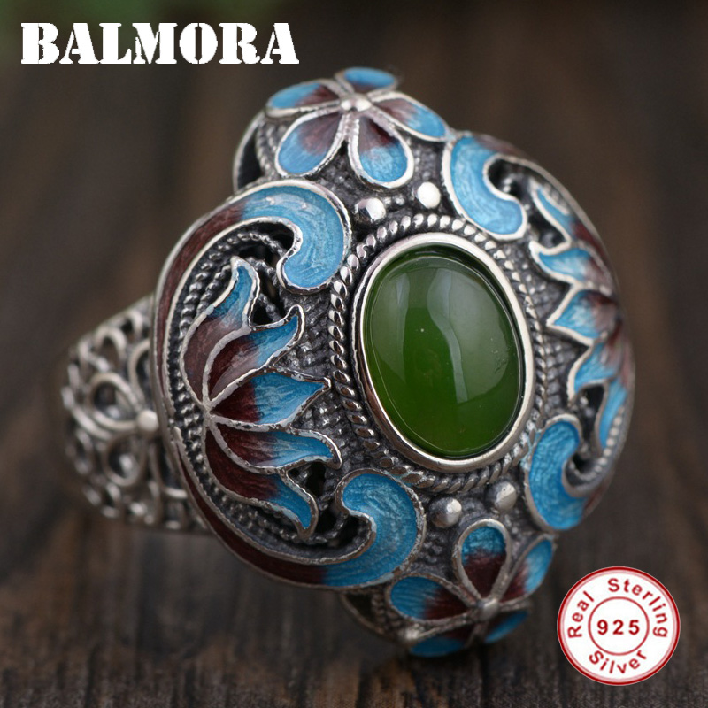 BALMORA 925 Sterling Silver Flower Pattern Rings for Women Lover Gift Green Stone Vintage Ring Ethnic Jewelry Anillos TRS21820 stylish flower leaf ethnic pattern colored men s tie