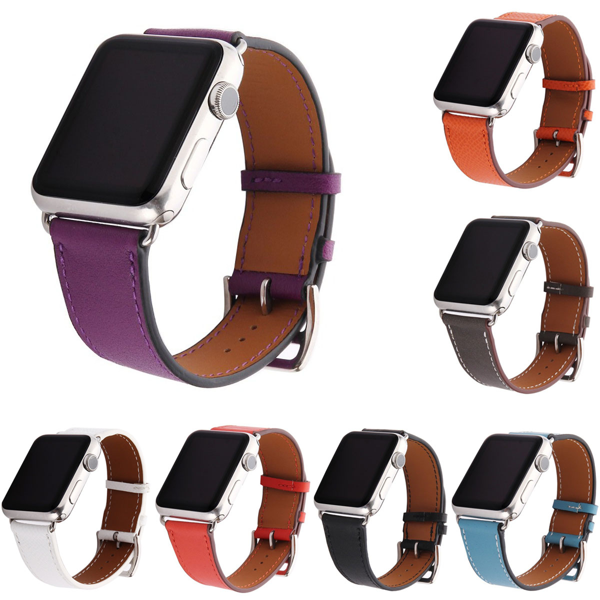 DAHASE Litchi Genuine Leather Band for Apple Watch Series 1 2 3 Strap for iWatch Classic Watchband 42mm 38mm With Adapters