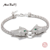 MeiBaPJ Real 925 Silver AAAA High Quality Charm Tiger Bracelet For Women 3 Colors Bracelet