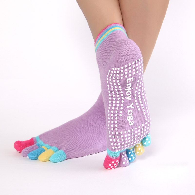 Women Sports Colorful Yoga Socks Hot Fitness And Pilates Cotton Socks Rainbow Workout Anti Slip Toe Socks Breathable Purple women yoga dance sports pilates anti slip exercise massage half toe socks