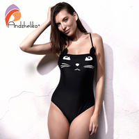 Andzhelika Women Swimsuit One Piece Sport Swimwear Cute Cat Girls Bodysuit Backless Swim Suit Beach Bathing