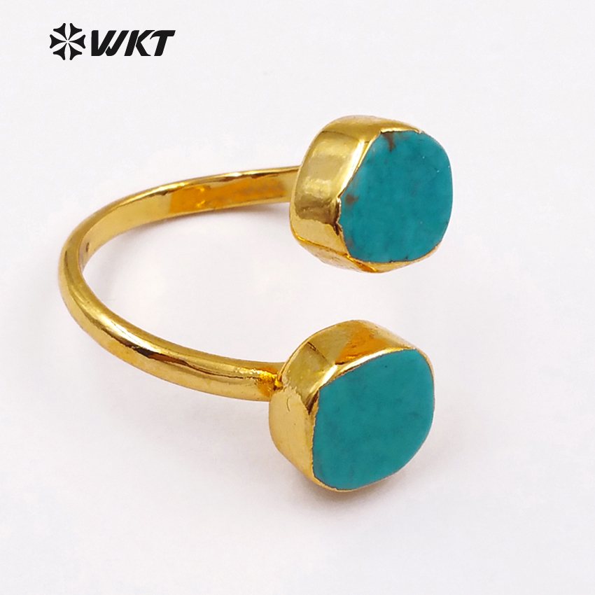 WT-R103 Fashion Vintage Green Howlite rings with 24K gold trim on - Fashion Jewelry