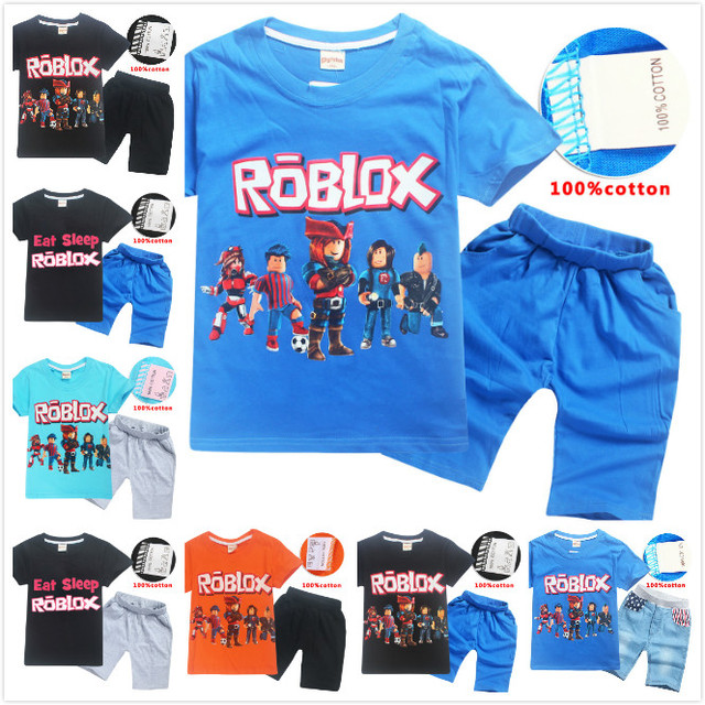 Free Ship Summer Boys Clothes Cartoon Roblox Print Template T Shirt