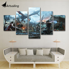 modern HD 5 Panel Legends Heroes of Skyrim Painting Canvas Wall Art Picture For Living Room Print artwork