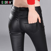 Winter Warm Ladies Fashion PU Pants Women Black Faux Leather High Waist Harem Slim Pencil Trousers