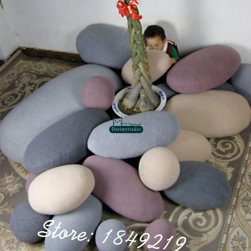 Dorimytrader Fashion DIY 6pcs Cobblestone Cushion Room Decoration Giant Emulational Stone Shape Pillow Children Play Toy