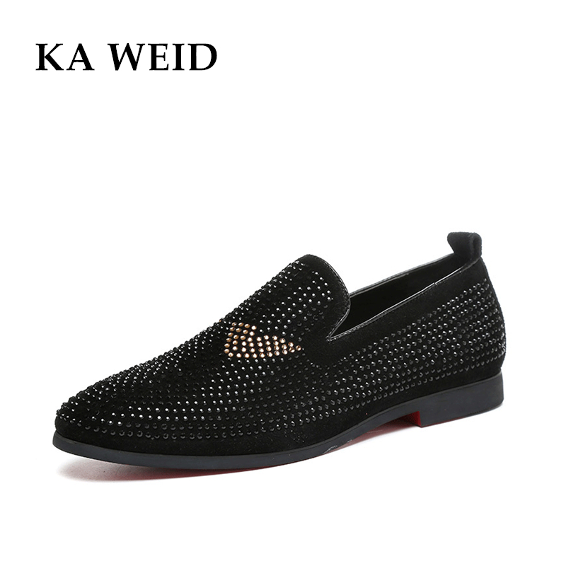 Top Quality EU 39-43 Red Bottom Men Shoes Fashion Dandelion Spikes Men Loafers Rivets Casual Dress Shoes Men Flats Black gram epos men casual shoes top quality men high top shoes fashion breathable hip hop shoes men red black white chaussure hommre