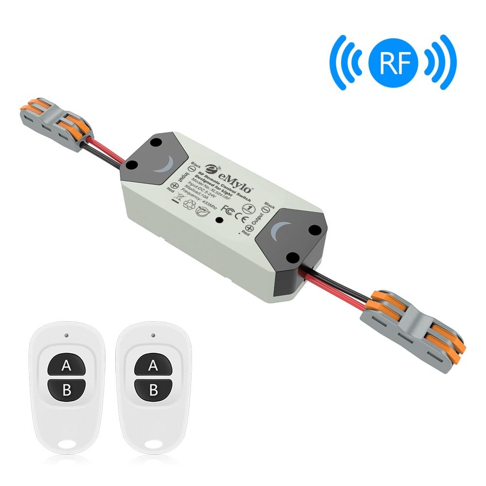 Emylo Rf Switch Wireless Light Switch Dc 5v 12v 24v 1 Way 433mhz Remote Control Switch Rf Relay Module Smart Home Appliance 1pc