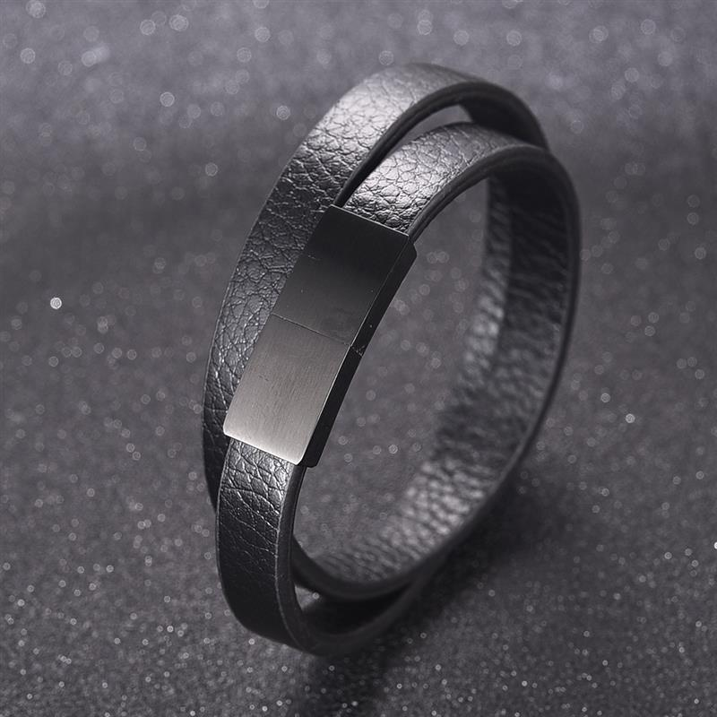 Jiayiqi Fashion Black Leather Bracelet for Men Women Jewelry Simple Style Black Stainless Steel Magnetic Buckle Bangle