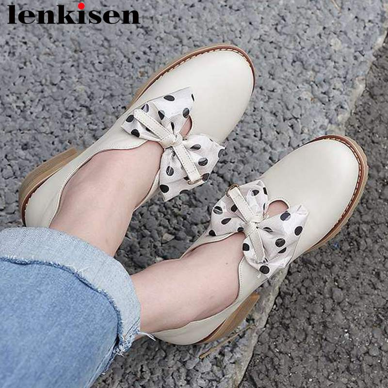Pretty girls butterfly knot women pumps polka dot chunky heels slip on round toe British style plus size brand casual shoes L0f7