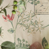 280cm Wide Magnolia Betty Flowers Red Cotton Linen Blackout Drapery Fabric Window Curtains Fabric Tablecloth DIY