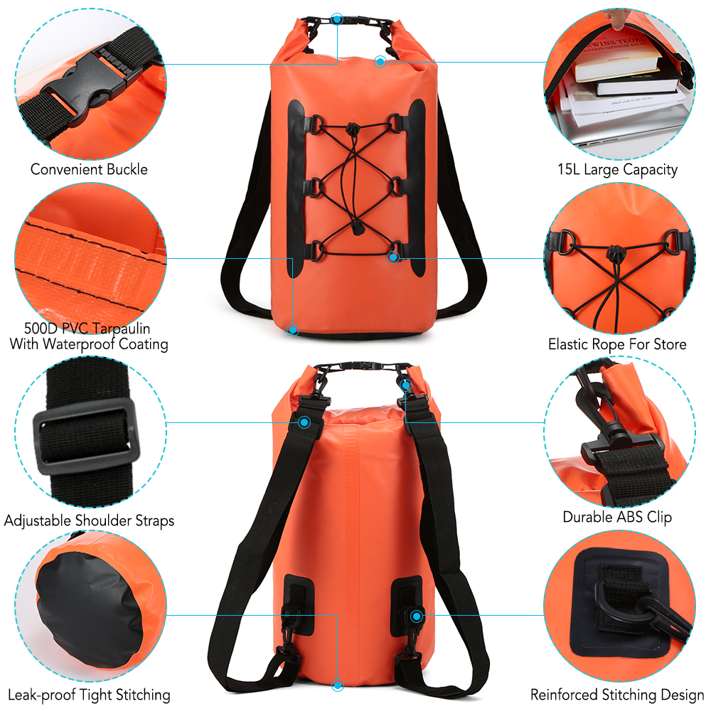 Waterproof Dry Bag Sack Shoulder Strap Backpack Surfing Diving Sailing Canoeing