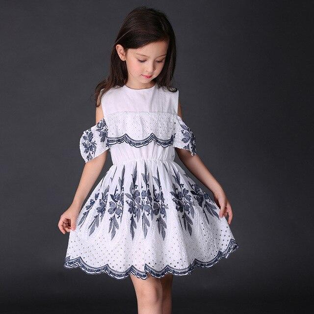 692b4fb9e Girl Dress New 2017 Summer Harness Drain Shoulder Dresses for Girls ...