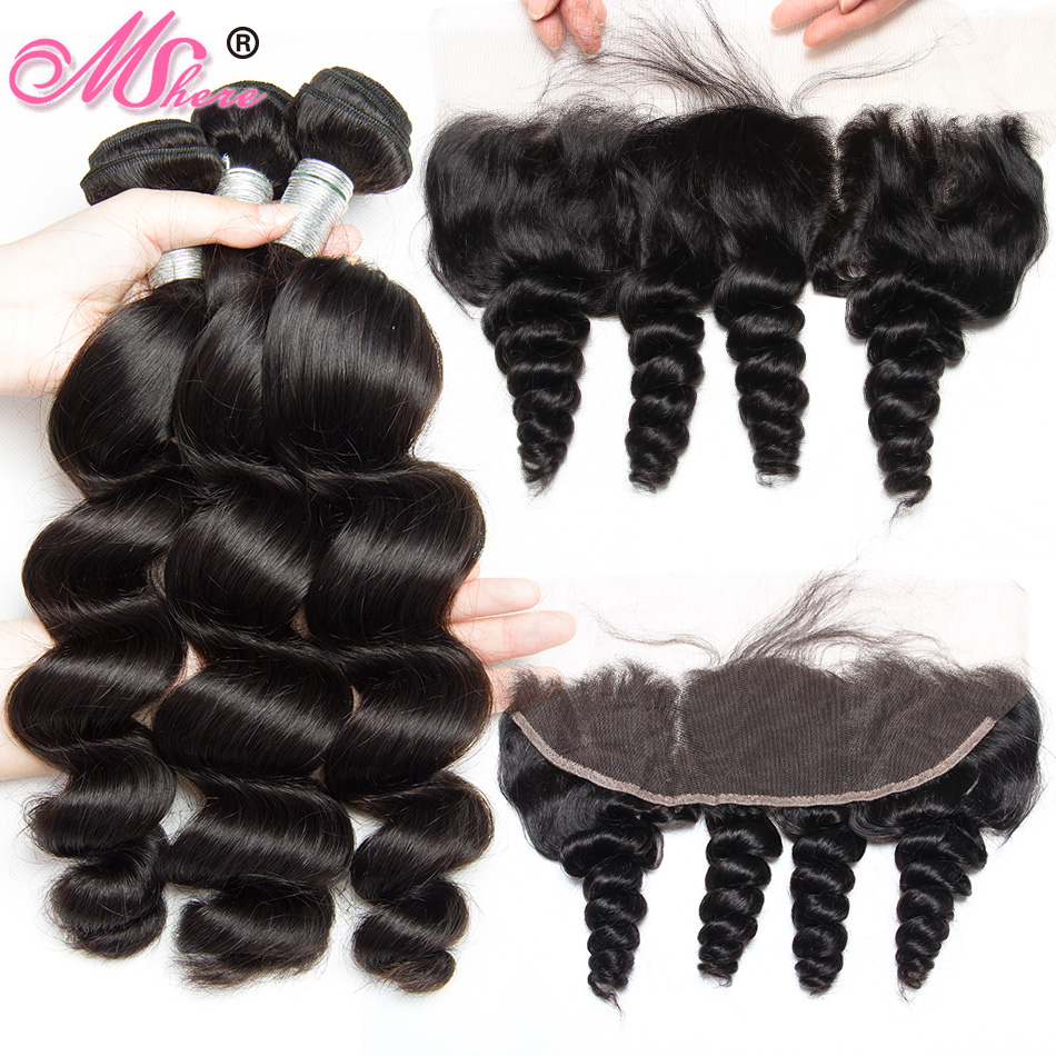 Loose Wave Human Hair Bundles With Closure Ear to Ear Lace Frontal Closure With Bundles Brazilian