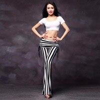 2017 נשים בטן תלבושות 2 יחידות (למעלה + מכנסיים) פס מודאלית שחור לבן בגדי ריקוד בטן צועני שבטית זול ההודי בוליווד FF6121