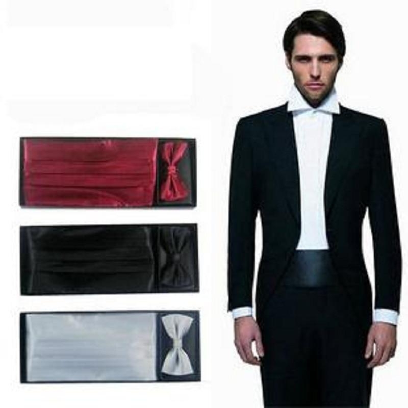 2019 Men's Cummerbunds Handkerchief Pocket Square Solid Bowtie Neck Tie Set Sash Belts Gift Box Ceremonial Belt