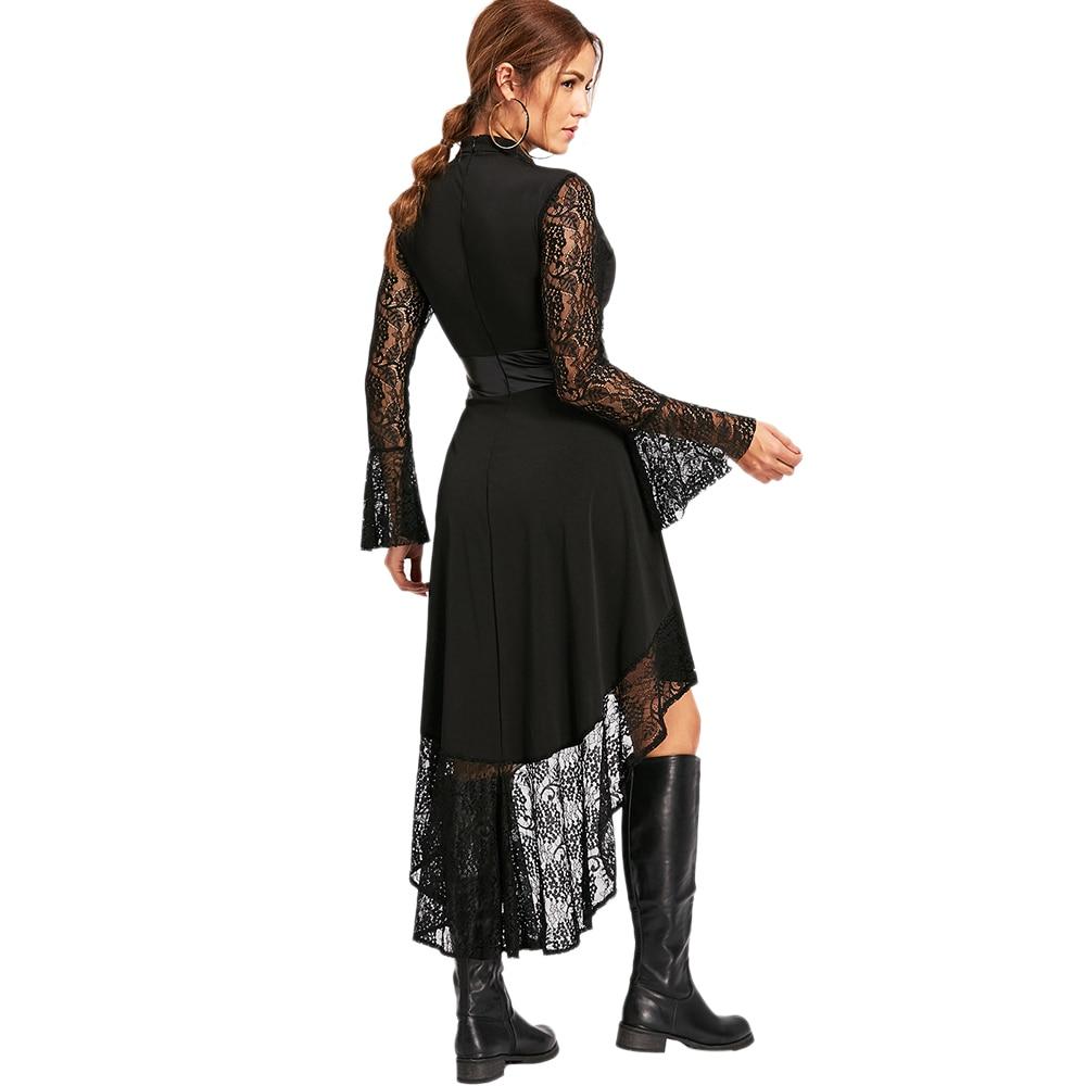 453948ae67cc VESTLINDA Black Lace Dress Long Sleeve Robe Flare Sleeve Asymmetrical High  Low Semi Formal Dresses Women 2017 Autumn Vestidos-in Dresses from Women s  ...