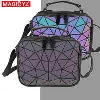 MAGICYZ Luminosa A Laser Mulheres bolsas Pequenos Sacos Crossbody para Mulheres bolsa de Ombro Xadrez Geométrica Holograma sacos de pequeno Quadrado