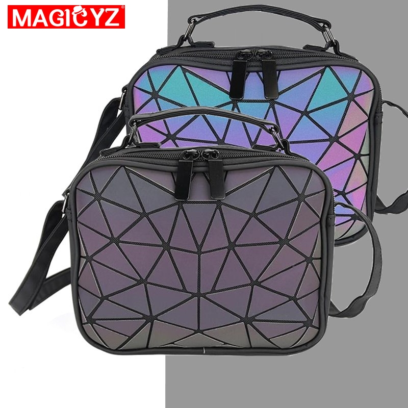 MAGICYZ Women Laser Luminous Handbags Small Crossbody Bags For Women Shoulder Bag Geometric Plaid Totes Ladies Leather Purse