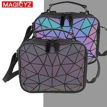 MAGICYZ kadın lazer ışık çanta küçük Crossbody çanta kadınlar için omuzdan askili çanta geometrik ekose tote bayan deri çanta