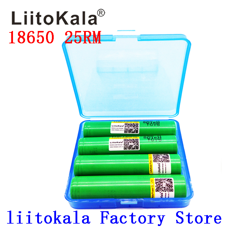 2019 NEW Liitokala 18650 2500mah Lithium Battery 25RM INR 18650 25R M 20A Battery For Electronic Cigarette+BOX
