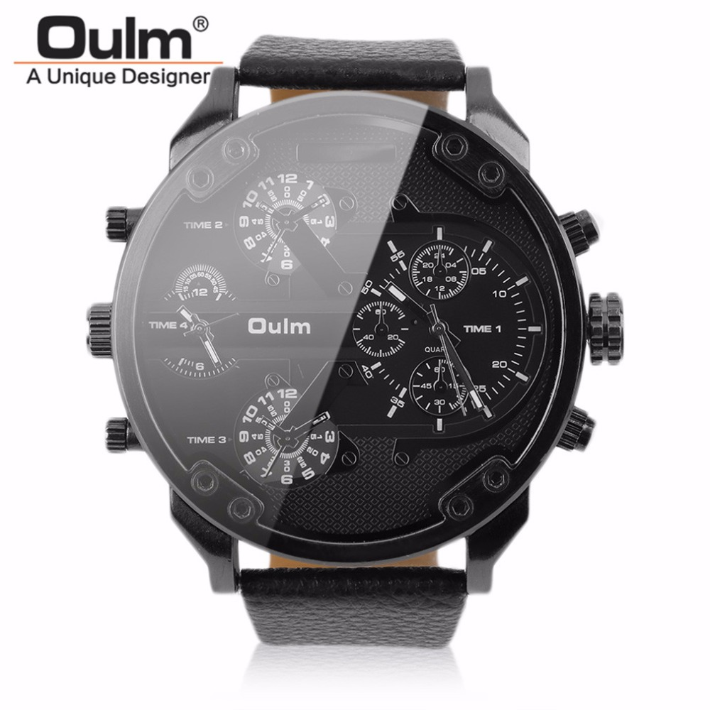 OULM Relogio Masculino Sports Watch Mens Dual-movt Big Stainless Steel Dial Leather Strap Japan Military Outdoor Wristwatches oulm 3597 male quartz watch dual movt multifunctional wristwatch