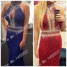 Royal Blue Abendkleider Abendkleid Rot Kristall Schnelle Verschiffen High Neck Mermaid Strass Prom Kleid Mit Stones Red Perlen