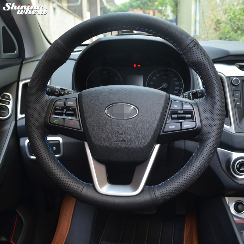 Shining wheat Hand-stitched Black Leather Car Steering Wheel Cover for Hyundai ix25 2014 ...