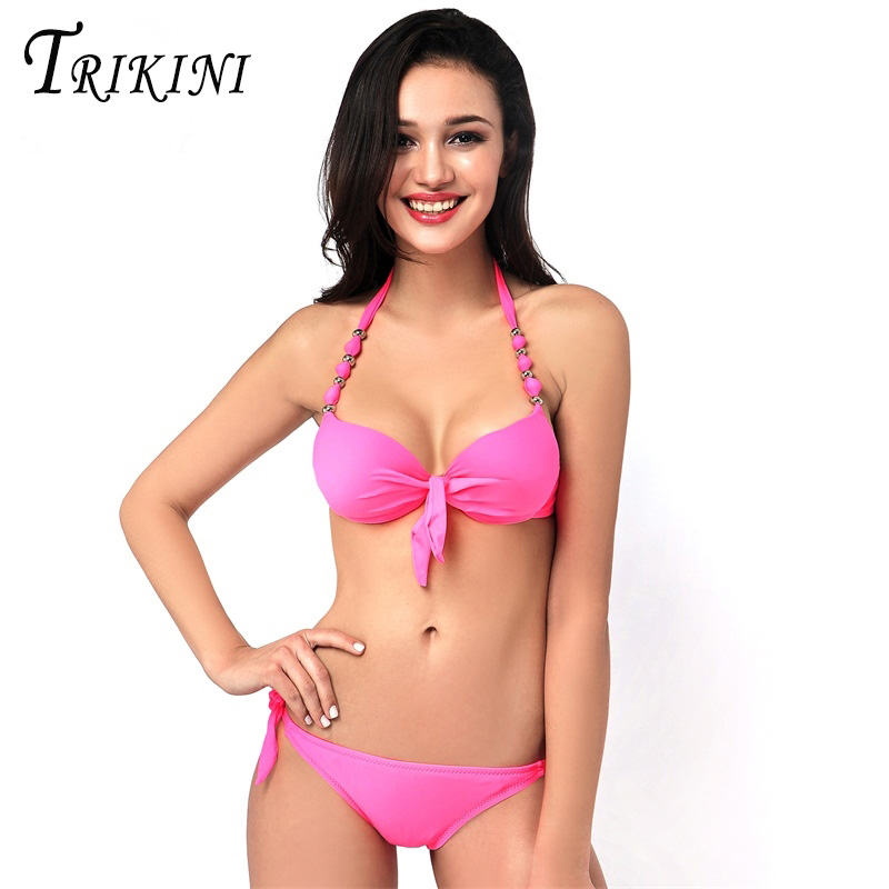 TRIKINI Brazilian style Bikini push up big BREAST CUP swimsuit swimwear female bikinis set pants side lacing high elastic 2017