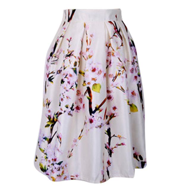 Invierno verano vintage faldas flor floral plisado midi un line falda de las señoras de las mujeres blanco pettiskirt verde largo de tafetán casual