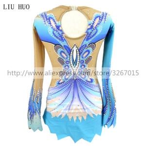 Image 2 - Women rhythmic gymnastics leotards for girls performance suit Artistic gymnastics dress Blue Beautiful print Shiny rhinestone