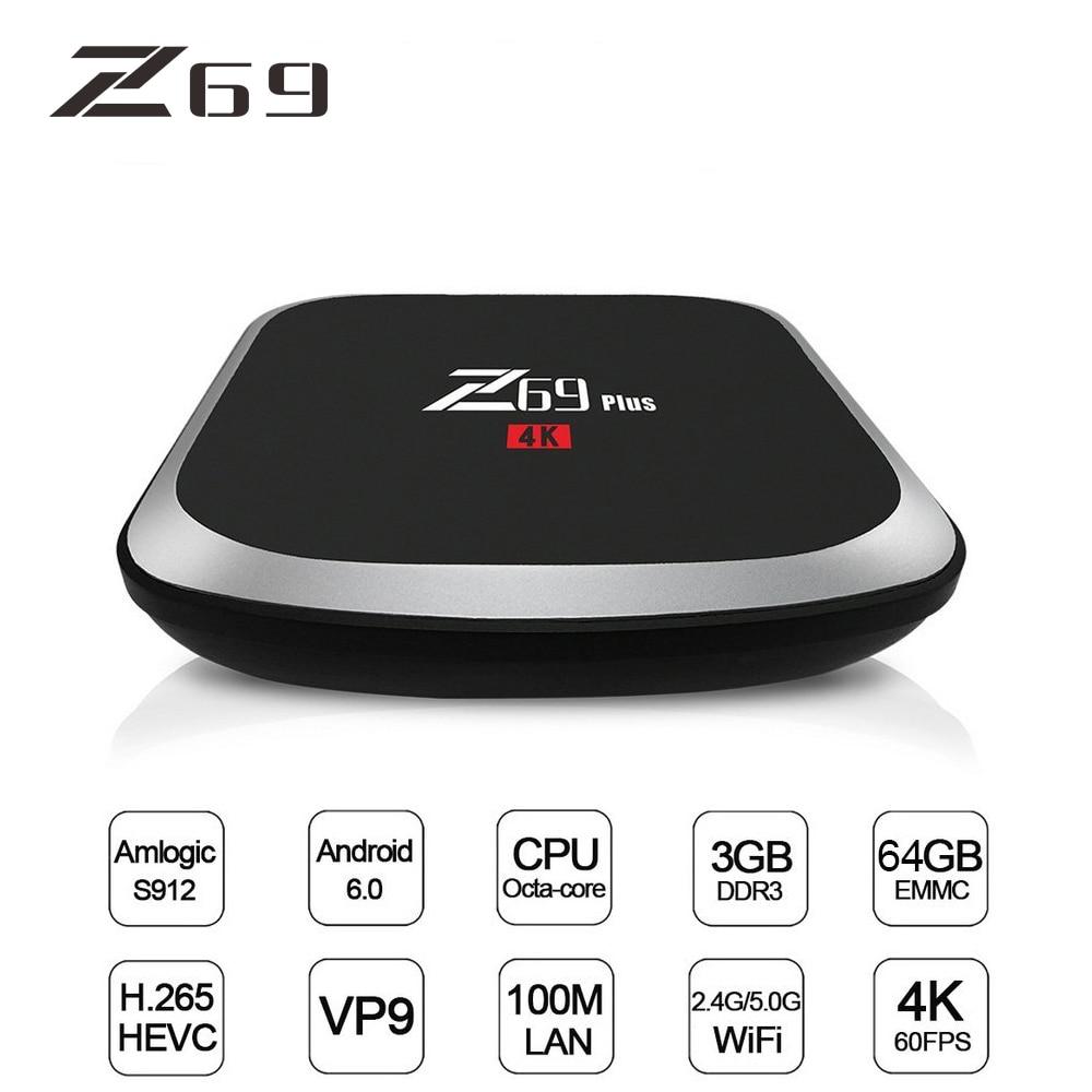 Z69 PLUS TV Box Smart Android 7.1 TV Box 3G DDRS 64G HD 2.4G/5G WIFI Set-top Box 1000M Ethernet 4K HD IPTV Midia Stream Player