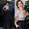 Elegant Crystal Beading Long A-line Robe De Soiree Satin Short Sleeve Black Prom Dress Women Formal Evening Dresses