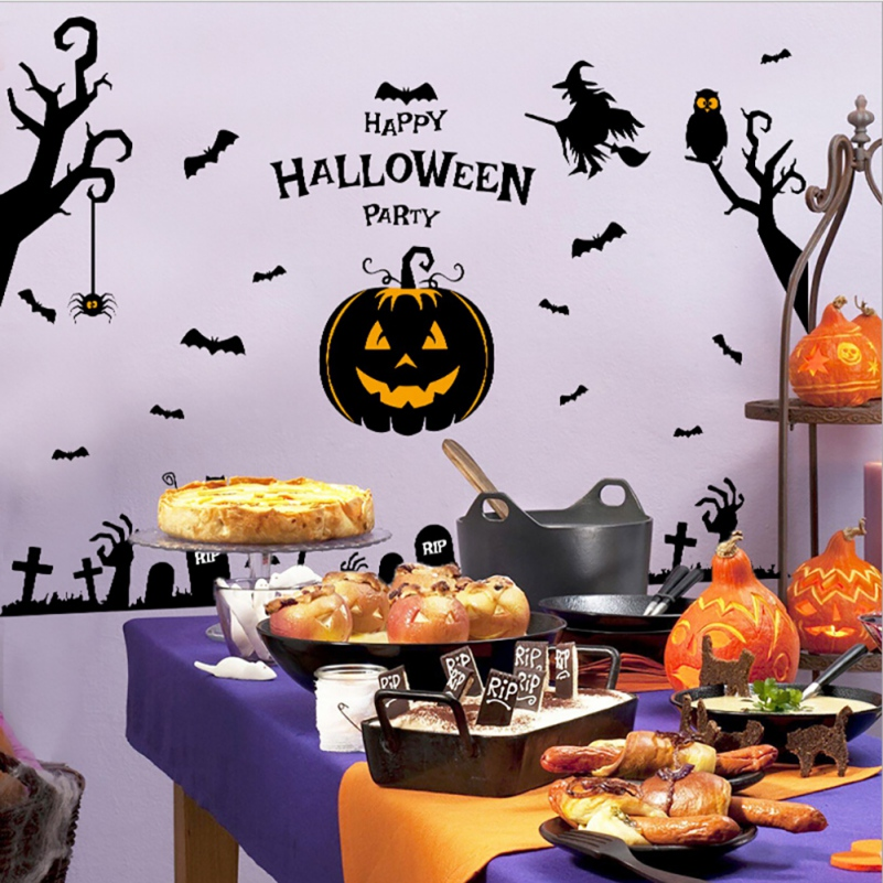 halloween pumpkins spooky cemetery witch and bats tomb wall decals window stickers halloween decorations kids rooms - Kids Halloween Decorations