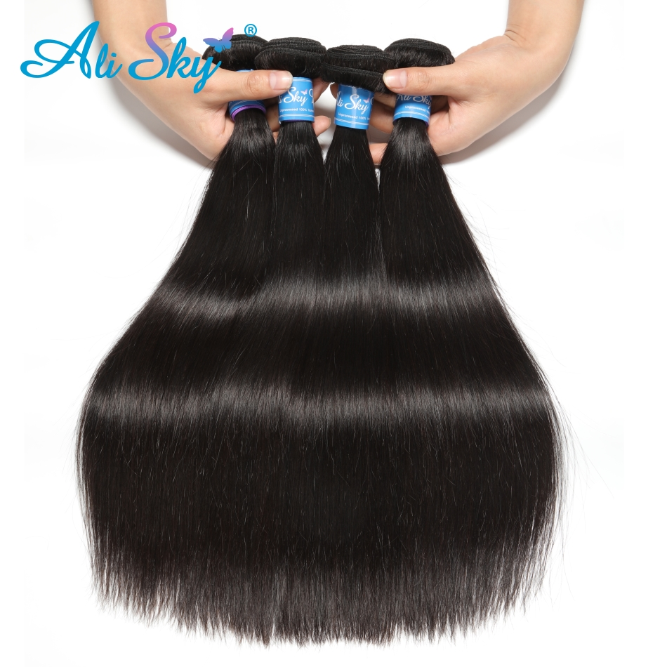 """Indian Straight Hair Bundles 4 Bundles With Closure Human Hair Bundles With Closure Ali Sky 4 Indian Straight Hair Bundles 4 Bundles With Closure Human Hair Bundles With Closure Ali Sky 4""""x4"""" Top Lace Closure Remy"""