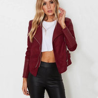 2018 New Women Autumn Winter PU Suede Faux Leather Jackets Lady Brown Matte Motorcycle Biker Zippers