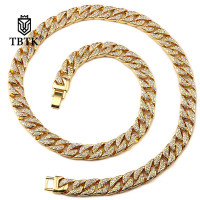TBTK Zinc Alloy With Rhinestone Bling Necklace Golden Long Necklace Punk Style Jewelry for Hiphop Man Cuban Link Chain Necklace