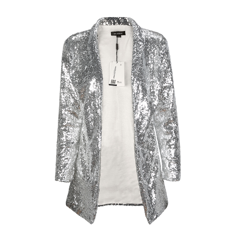 012ed8119d8 Cardigan Jackets 2018 Brand Quality New Spring fashion party Gold Sequins  Jacket long sleeve Open Stitch Slim Outwear On Sale-in Basic Jackets from  Women s ...