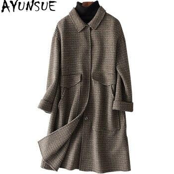 AYUNSUE Fashion Casacos Double-faced Wool Coat Female Long Houndstooth Winter Jacket Women Officewear Women's Coats 38064 YQ1448
