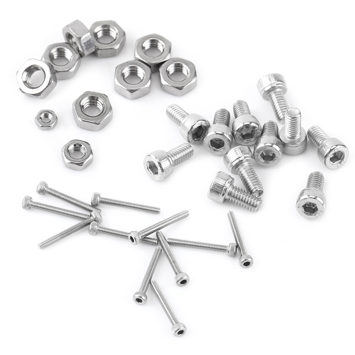 480pcs Hex Socket Head Cap Screws M2 M3 M4 Stainless Steel Nut Assortment Kit Set With Platic Box 60pcs box stainless steel m4 screw kits hex socket head cap screws m4 6 8 12 16 20 25mm fastener assortment kit hardware tools
