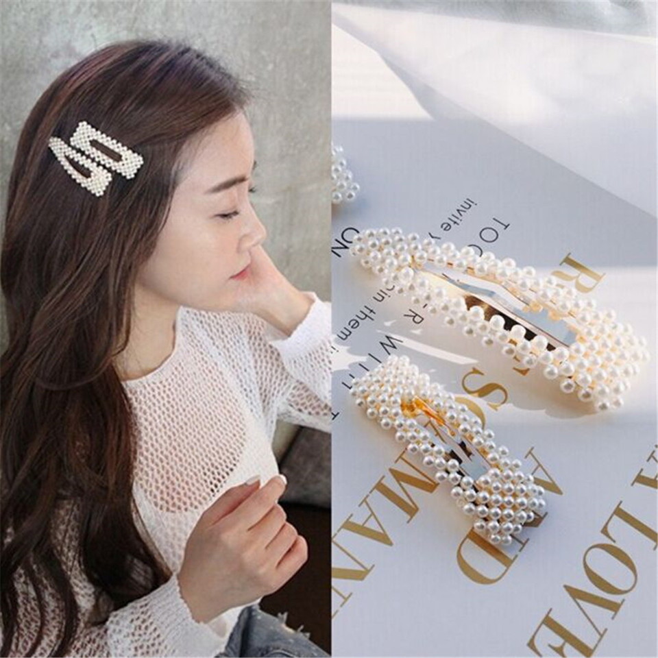 NEW 3Pcs Women Hair Clips Pearl Barrette Hairpin Acrylic Stick Snap Hairclip