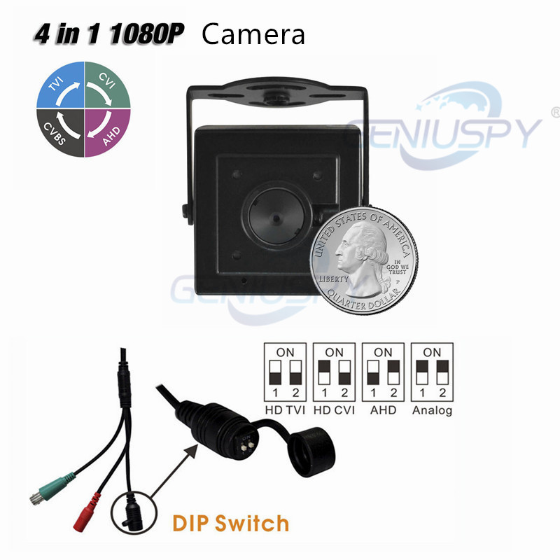 Miniature Size Bank ATM 4 IN 1 Mini HD Covert Camera 1080P CCTV HD TVI CVI AHD Analog CVBS Pin hole CCTV Camera Survillance 4 in 1 ir high speed dome camera ahd tvi cvi cvbs 1080p output ir night vision 150m ptz dome camera with wiper
