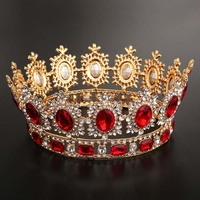Luxury Metal Full Circle Bridal Diadem Headpiece Rhinestone Crystal Noiva Tiaras and Crowns Hair Jewelry Wedding Accessories VL