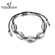 Todorova Handmade Cowrie Shell Bracelets for Women Delicate Rope Chain Bracelet Beads Charm Bohemian Beach Jewelry