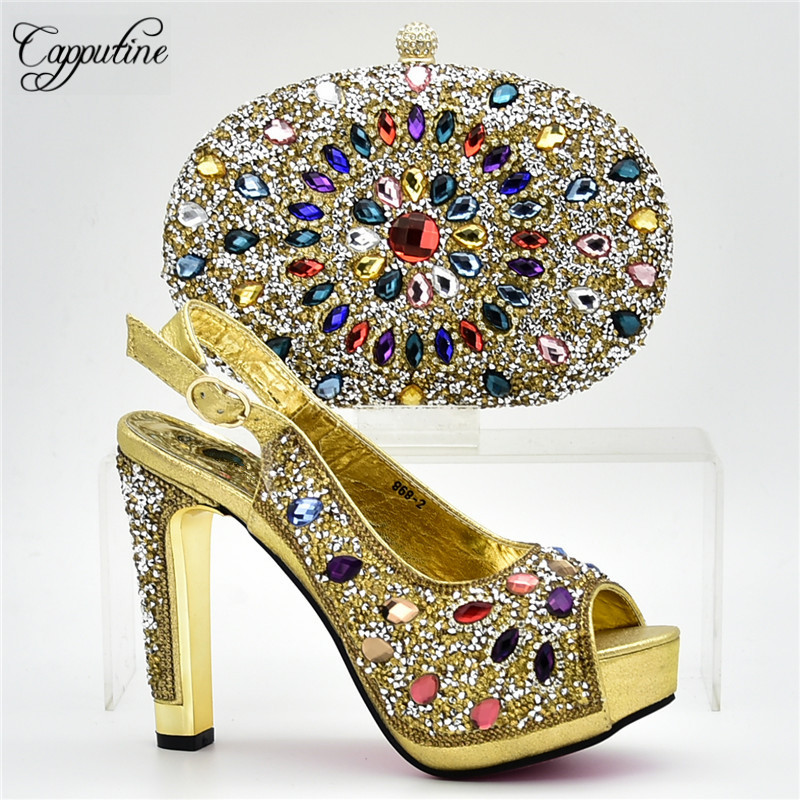 Capputine Hot Selling African Gold Shoes And Bag To Match Set Italian Woman Pumps Wedding Shoes And Bag Sets For Party DF-09 capputine 2018 african elegant shoes and bag to match set high quality nigerian pumps shoes and bag set for wedding 7colors sale