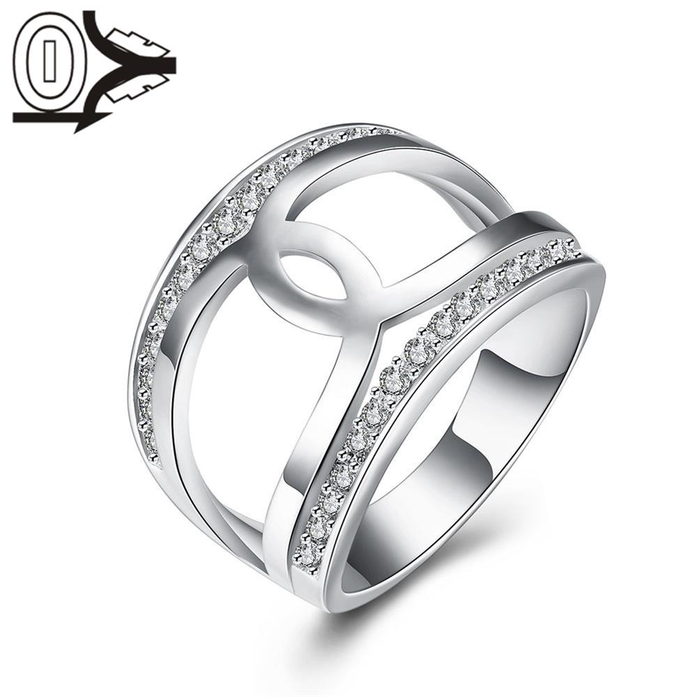 Free Shipping Silver plated Ring,Silver Fashion Jewelry,Europe and America Simple Cross Zircon Women Ladies Finger Rings