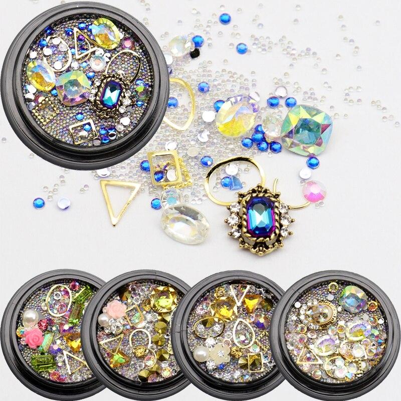 Holiday Nails Stud AB Color Crystal Rhinestones Multi-size G