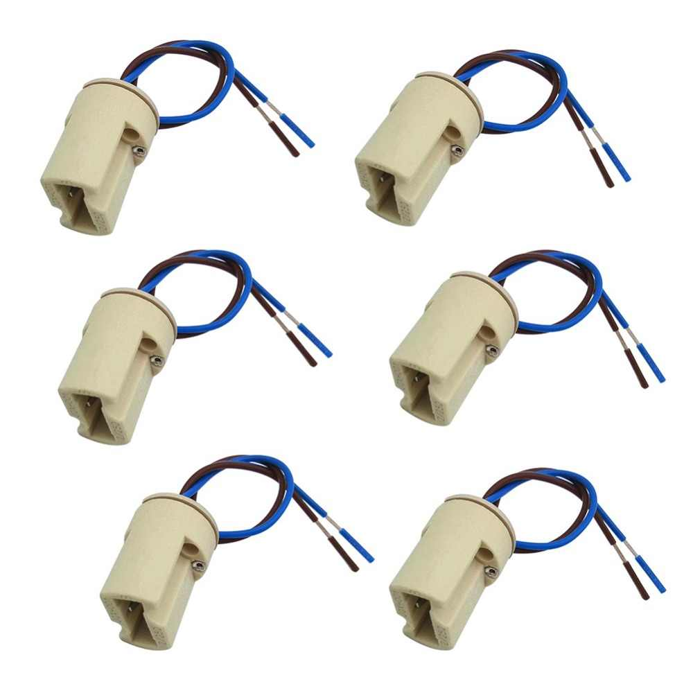 6pcs/lot G9 Lamp Base Ceramic Connector Socket G9 Type Lamp Holder for LED Halogen Bulb Light