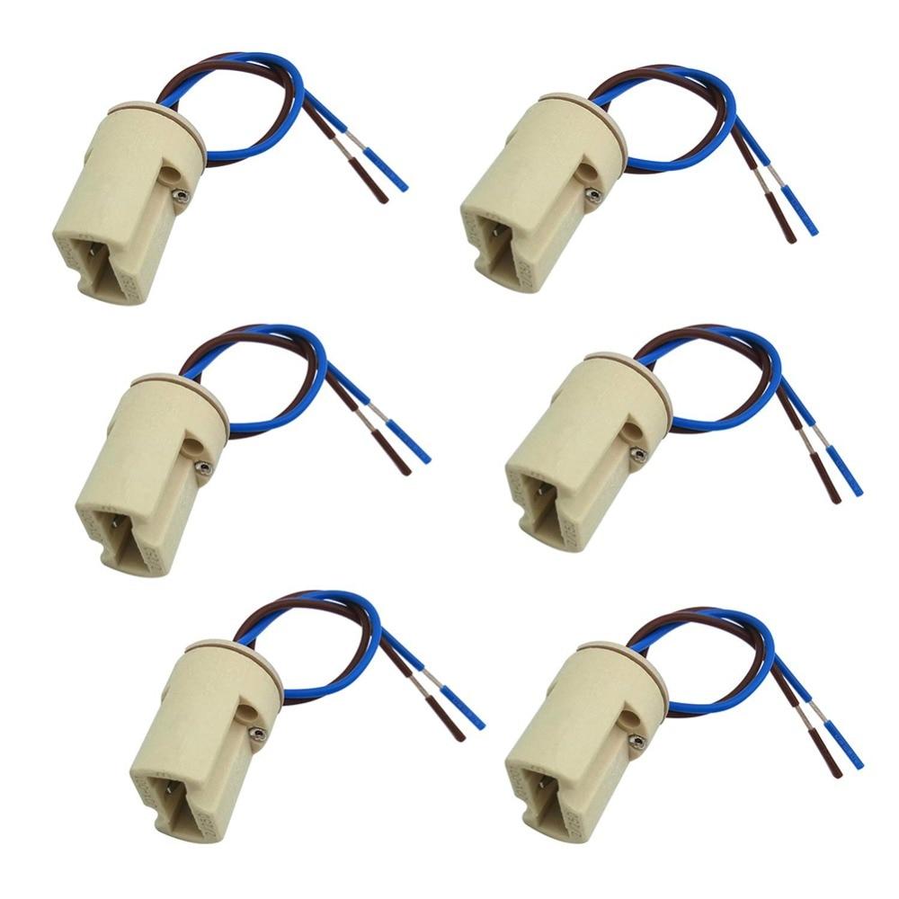 6pcs/lot G9 Lamp Base Ceramic Connector Socket G9 Type Lamp Holder For LED Halogen Bulb Light